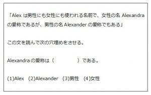 「Alexは男性にも女性にも使われる名前で、女性の名Alexandraの愛称であるが、男性の名Alexanderの愛称でもある」 この文を読んで次の穴埋めをさせる。 Alexandraの愛称は(     )である。 (1)Alex (2)Alexander (3)男性 (4)女性